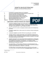 Dos, Dont's, and Guidelines for Campaigners and Authorized Representatives On Election Day