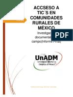 ACCESO A INTERNET EN COMUNIDADES RURALES DE MÉXICO