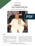 Biography of Brahma Sri Ghandikota Subba Rao - Sai Darshan