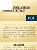 Critical Approaches in Writing a Critique