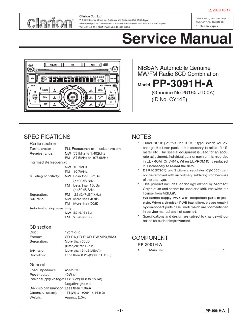Manual Reparacion Stereo Tiida