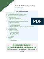 Requerimientos Nutricionales en Bovinos