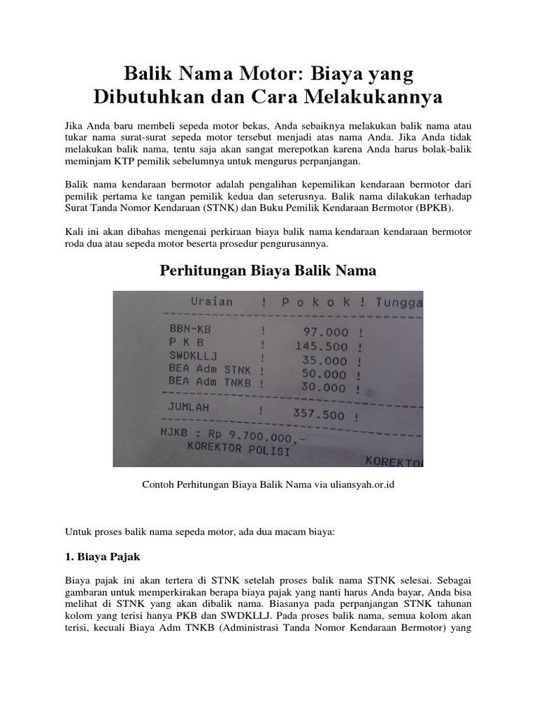 Cara Balik Nama Stnk Dan Bpkb Motor