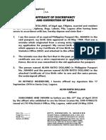 Affidavit of Discrepancy and Correction of Data Form-2