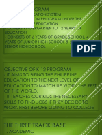 The K- 12 Educational Program