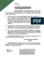 Affidavit of Discrepancy and Correction of Data Form-4
