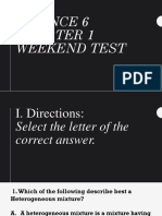 SCIENCE 6 Quarter 1 Weekend Test