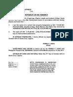 Affidavit of No Tenancy