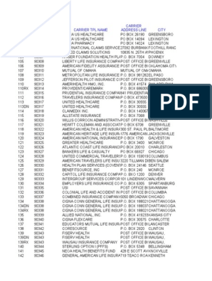 Carrier Code List Numeric Post Office Box Employee Benefits