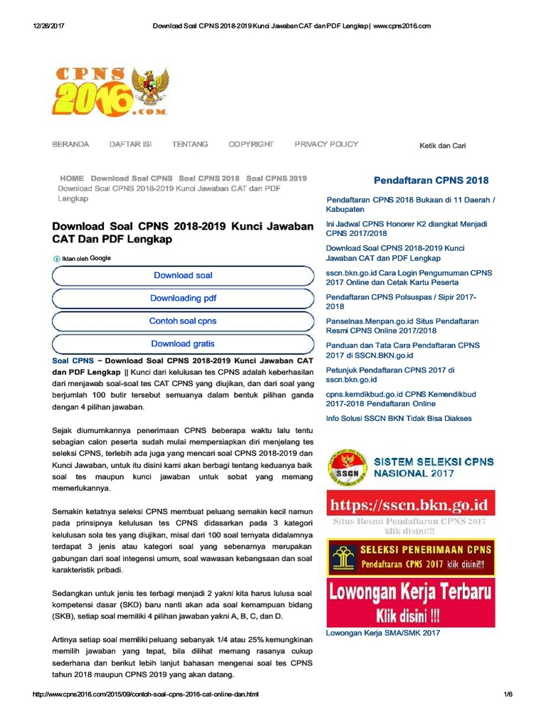 Edoc Site Download Soal Cpns 2018 2019 Kunci Jawaban Cat Dan Pdf