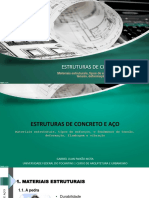 Materiais estruturais, tipos de esforços e fenômenos de tensão, deformação, flambagem e vibração - Estruturas de Concreto e Aço