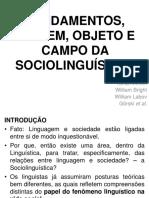 Fundamentos, Origem, Objeto e Campo Da Sociolinguística