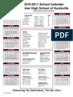 2010-2011 Calendar Huntsville Premier