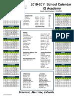 2010-2011 Calendar iQ Academy