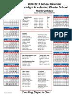 2010-2011 Calendar Paradigm Wallis