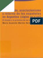 Emigración, Asociacionismo y Retorno de Los Españoles en Argentina