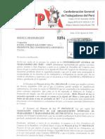 Oficio- 190 CGTP exigiendo a Congreso de la República celeridad en debate de leyes laborales