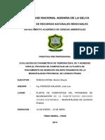 Evaluación de Parámetros de Temperatura, Ph y Humedad Para El Proceso de Compostaje en La Planta de Tratamiento de Residuos Solidos Organicos de La Municipalidad Provincial de Leoncio Prado