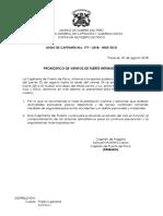 Aviso Capitania 177- Vientos de Moderada a Fuerte Intensidad Agosto 2018