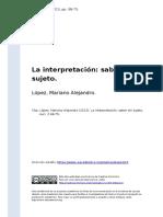 +++ Lopez, Mariano Alejandro (2013). La interpretacion saber sin sujeto