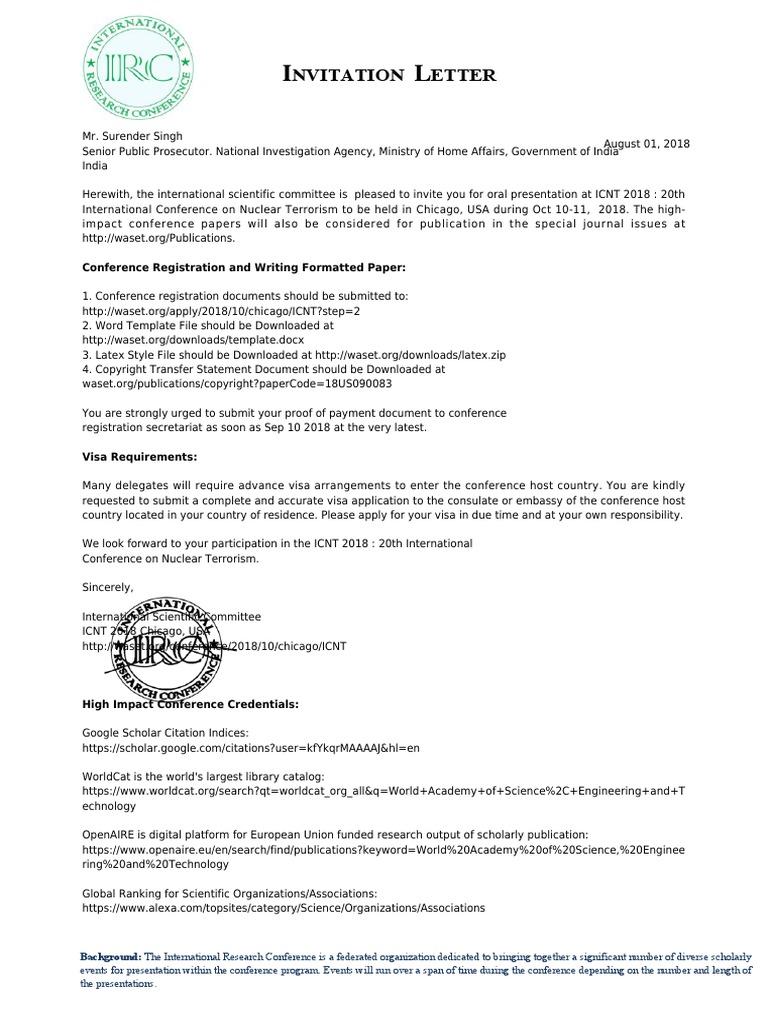 Invitation 1 Pdf Travel Visa