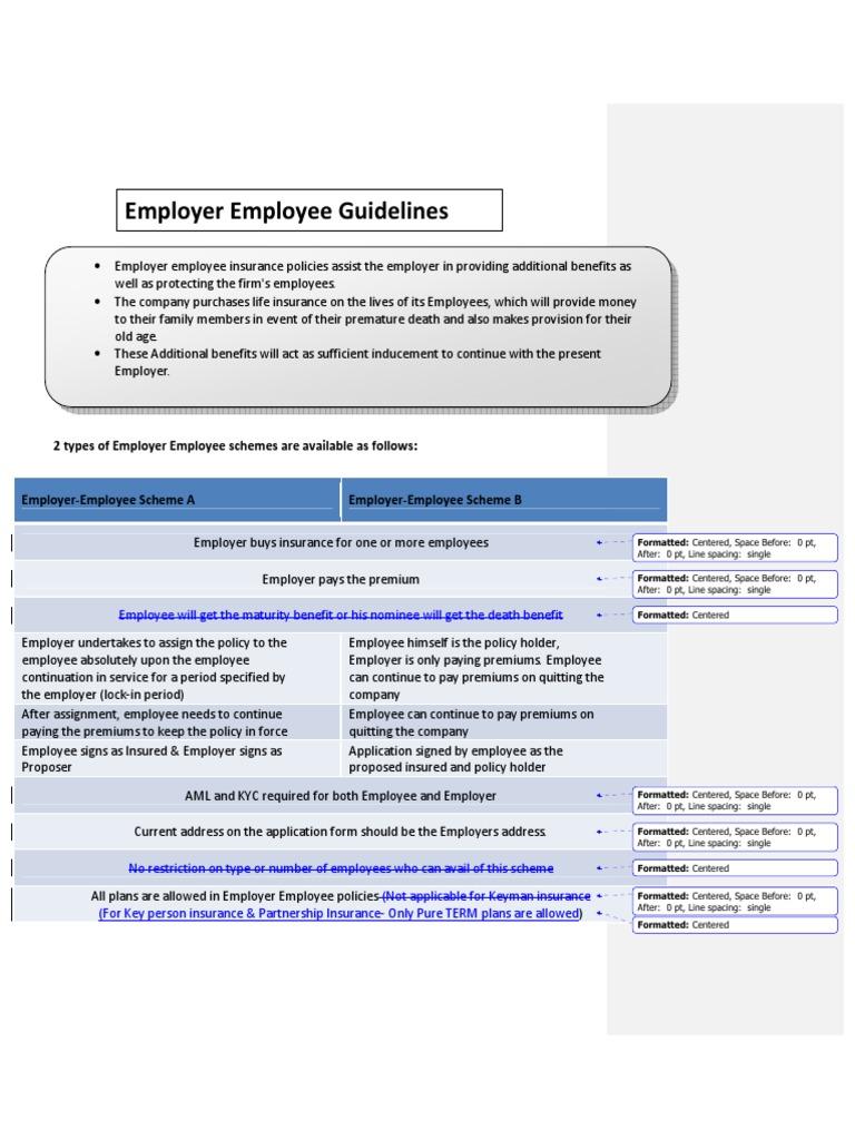 Employer Employee Guidelines Pdf Insurance Life Insurance