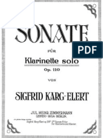 Sonata for Solo Clarinet, Op.110 Elert Sigfrid)