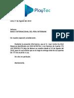 Carta Banco Interbank Cts