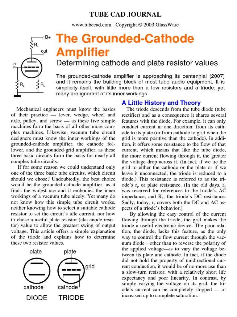 The Grounded-Cathode Amplifier: Determining cathode and plate