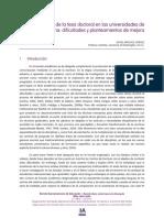 La Elaboracion de La Tesis Doctoral en Universidades de Habla Hispana