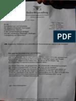 Brief des Regierungspräsidium Stuttgart vom 01.10.2010