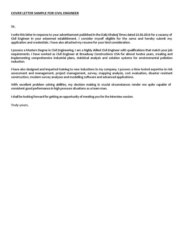 Cover Letter Sample For Civil Engineer