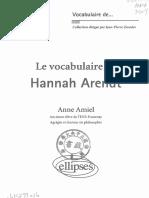 AMIEL, Anne, Le Vocabulaire de Hannah Arendt
