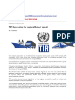 TIR Convention for Regional Hub of Transit