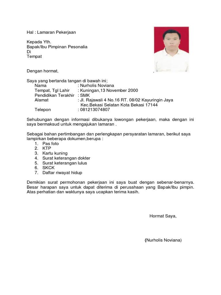 Surat Lamaran Kerja Pdf