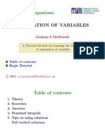 Ordinary Differential Equations Separation Variables