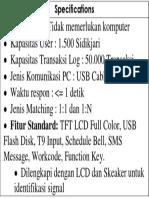 Spesifikasi Finger Print