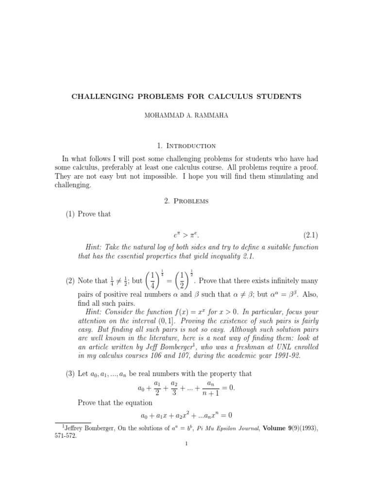 ebook - math) - Calculus - Challenging Problems pdf | Integral