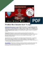 Prediksi Skor Dynamo Kyiv vs Ajax