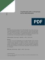 Considerações Sobre a Antropologia de Pico Della Mirandola