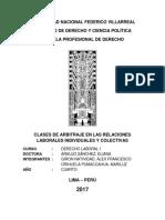 Clases de Arbitraje en Las Relaciones Laboral Individual y Colectivas