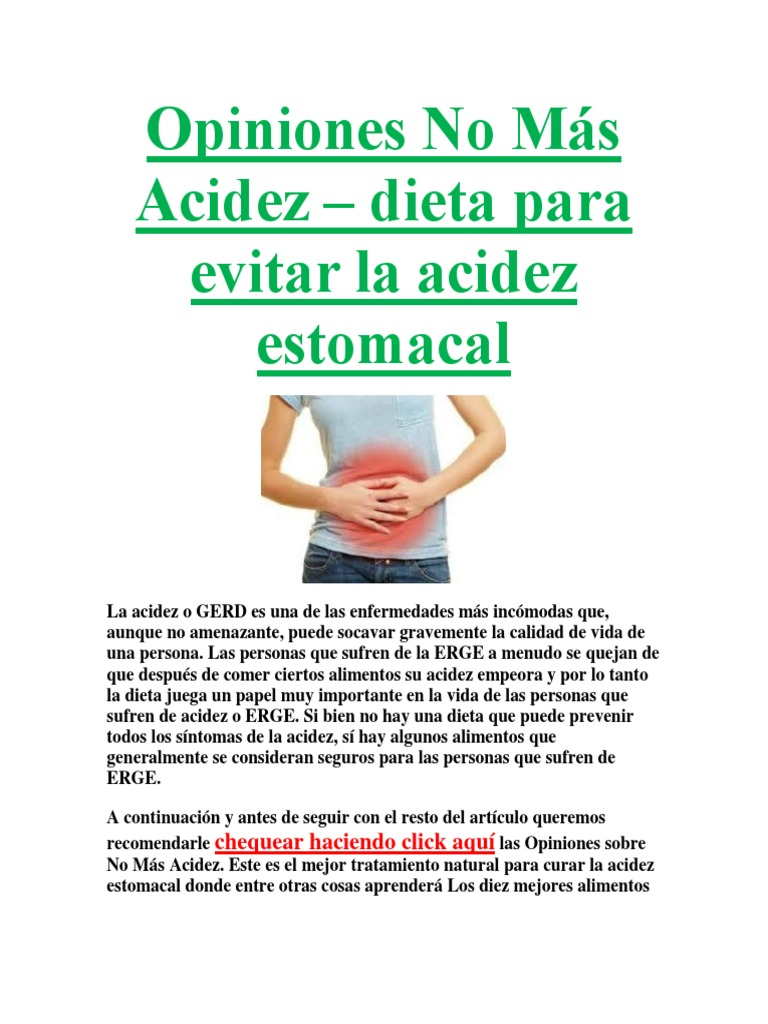 Dieta para evitar la acidez estomacal
