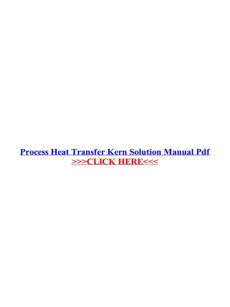 Process Heat Transfer Kern Solution Manual Pdf Heat Heat Transfer