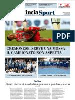 La Provincia Di Cremona 27-08-2018 - Sport