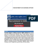 AIIMS RISHIKESH RECRUITMENT 2018 NURSING OFFICER 668 POSTS