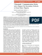 Assesment of Principals Communication Styles and Administrative Impact on Secondary Schools in Osun State Nigeria