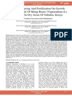 Effects of Spacing and Fertilization on Growth and Grain Yields of Mung Beans Vignaradiata l Wilckzeck in Dry Areas of Subukia Kenya