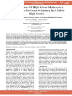 Early Predictors of High School Mathematics Achievements for Grade 9 Students in a Public High School