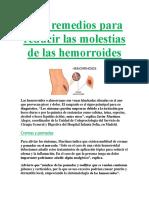 Diez Remedios Para Reducir Las Molestias de Las Hemorroides