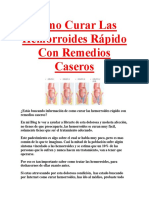 Como Curar Las Hemorroides Rápido Con Remedios Caseros